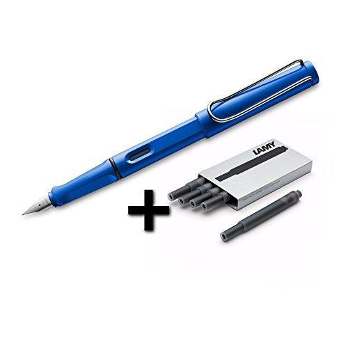Lamy Plastic Pen - Lamy Safari Fountain Pen (14F) Sky Blue + 5 Black Ink Cartridges