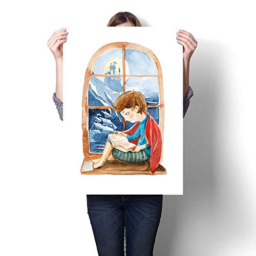 Canvas Wall Art for Bedroom Home Decorations Watercolor Illustration Isolated on White Background The boy with Book Dreaming About a Big Ship sea and Castle The boy Sitting on The Window and Reading (Jake And The Neverland Pirates Pirate Sitting Pirates)