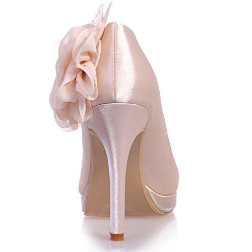 Chiusa viola in Fiori Tacco Sposa Raso Scarpe Tacco per Elobaby con 11cm DéColleté Punta Donna da RqFPZnf
