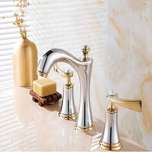 S-TING 蛇口 美しい実用的なヨーロッパの三穴流域ミキサー銅の浴室キャビネットスプリット蛇口スリーピースシルバーゴールド蛇口 水栓金具 立体水栓 万能水栓
