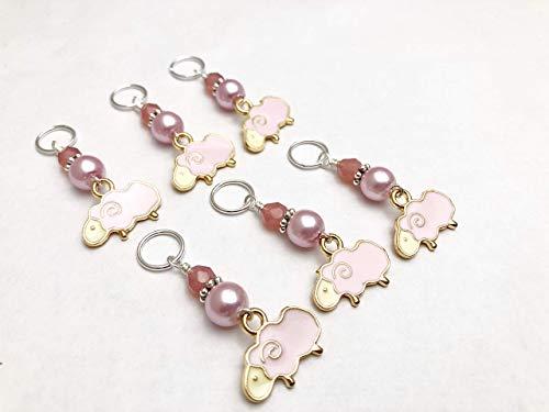 (Sheep Knitting Stitch Marker Jewelry Set (Pink))