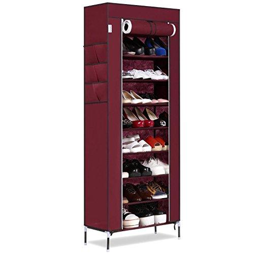 Leoneva 10-Tier Large Capacity Shoe Rack with Dustproof Cover Closet 27-Pair Space Saving Shoe Storage Cabinet Organizer (Wine Red)