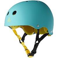 Triple 8 Brainsaver Rubber Helmet with Sweatsaver Liner (Baja Teal, Medium)