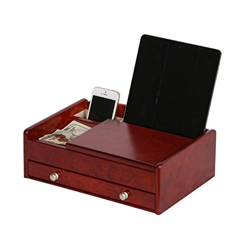 - Mele & Co. Davin Men's Wooden Dresser Top Valet in Dark Burlwood Walnut Finish