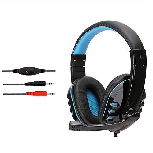 (ZKxl8ca Soyto SY733MV HiFi Stereo Gaming Headset Volume Control Headphone for PC Laptop Blue)