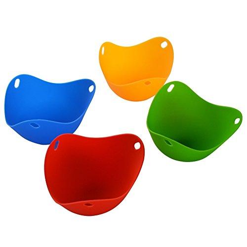 Generic Silicone Non-Stick Egg Poacher Cookware Cups Silicone Poach Pods Colorful Silicone Egg Cooker Egg Boiler,Set of 4 (Yellow/Green/Red/Blue)