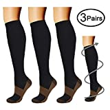 Copper Compression Socks (3 Pairs), 15-20 mmhg is BEST Athletic & Medical for Men & Women, Running, Flight, Travel, Nurses - Boost Performance, Blood Circulation & Recovery (Large/X-Large, Black)