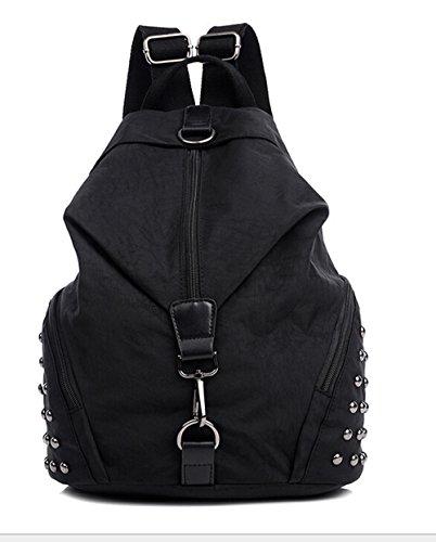 Fansela(TM) Girls Water-resistant Rivet Nylon School Bag Back Pack Black
