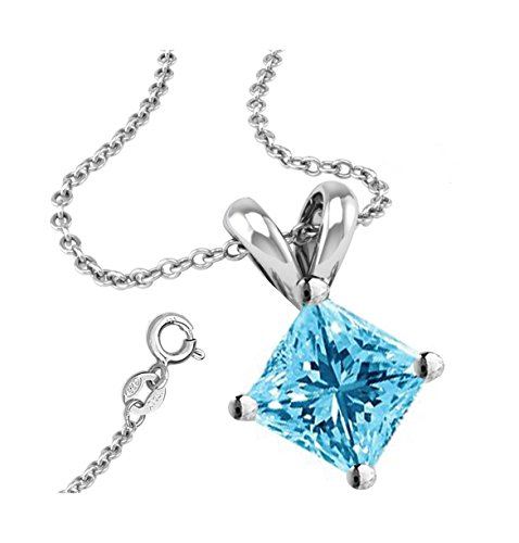 (Unique 925 Sterling Silver 1.50 Carat Princess Square Cubic Zirconia Simulated Aquamarine Necklace Pendant with 18 Inch Rolo Chain)