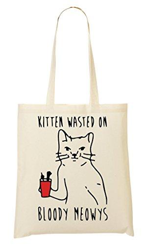 Kitten Wasted On Bloody Meowys Funny Cat Bolso De Mano Bolsa De La Compra