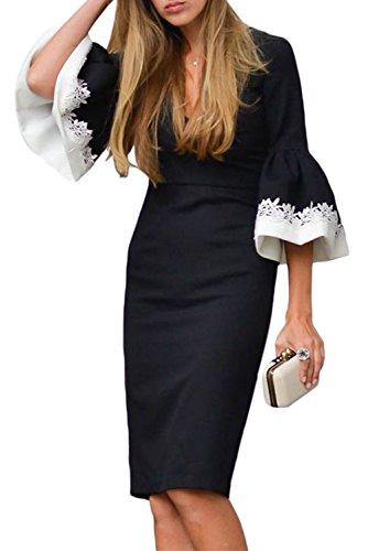 GOSOPIN Women Trumpet Sleeves High Waist Knee Sheath Dress Large Black ()