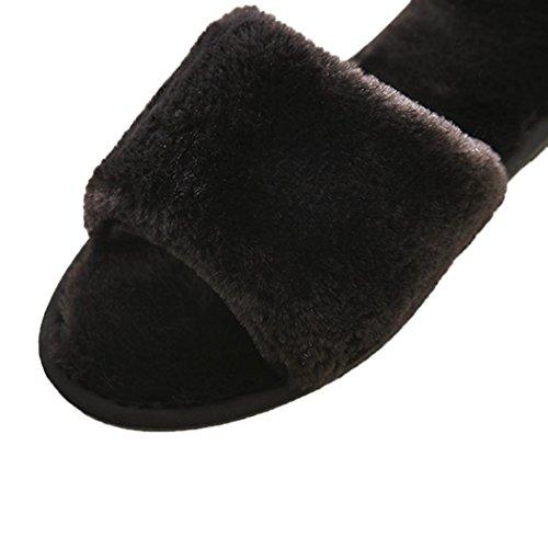 Summer Mae Mujer Zapatillas Abierta De Piel Super Cool y Suave Negro