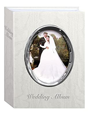 "Pioneer Photo Albums 100-Pocket Moire Cover Album with Silvertone Oval Frame and ""Wedding Album"" Text for 4 by 6-Inch Prints, Ivory"