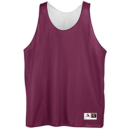 Youth Reversible Mini Mesh League Tank - MAROON WHITE SMALL by Augusta Sportswear