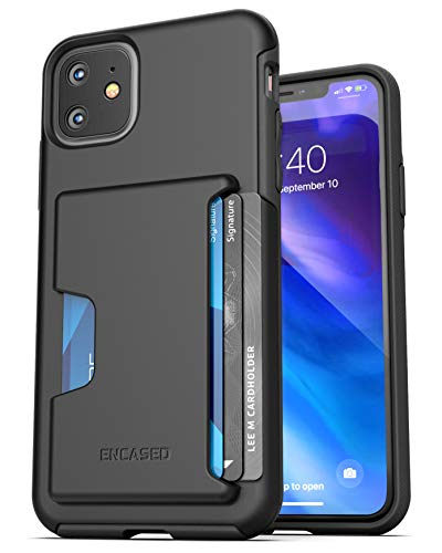 Encased iPhone 11 Wallet Case (2019) Ultra Durable Cover with Card Holder Slot (4 Credit Cards Capacity) Black (Best Black Credit Cards 2019)