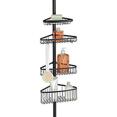 mDesign Bathroom Shower Storage Constant Tension Corner Pole Caddy - Adjustable Height - 4 Positionable Baskets Organizing Containing Hand Soap, Body Wash, Wash Cloths, Razors - Matte Black