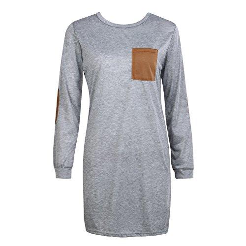 La Cabina Femme Casual Mini Robe Sweat-shirt Top Long Lâche Confortable pour Sports & Vie Quotidienne