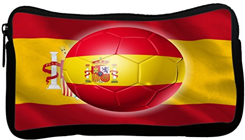 Rikki Knight Russia World Cup 2018 Spain Team Football Soccer Flag Design Neoprene Pencil Case by Rikki Knight