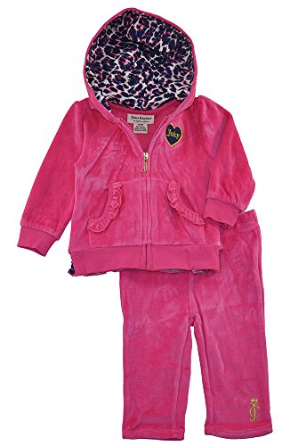 - Juicy Couture Baby Girls' Velour Hooded Jacket and Pants with Printed Accents, Fuchsia, 0-3 Months