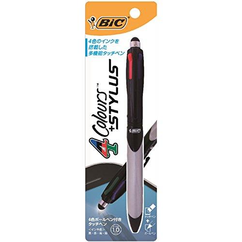BIC 4 color stylus with ballpoint pen 4C stylus pen 1.0 4CSTYBAM10BLK1P