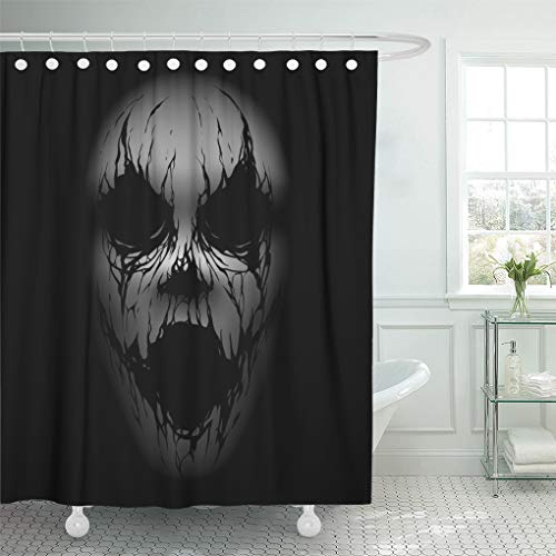 Emvency Shower Curtain Gothic Black Demon Scary Face White Creepy Dark Fantasy Shower Curtains Sets with Hooks 72 x 72 Inches Waterproof Polyester Fabric]()