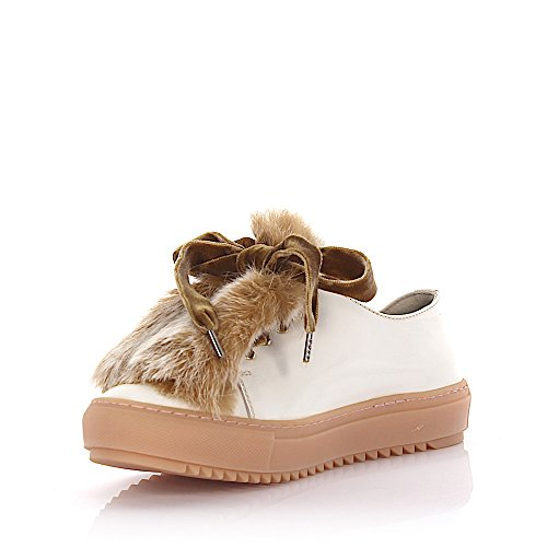 Sneakers D930006 Læder, Hvid Kaninpels Samtschnürsenkel Lammeskind