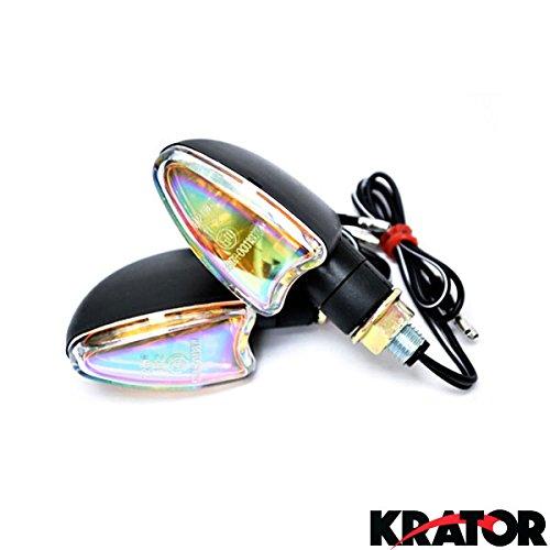 Krator 2pcs Mini Stalk Motorcycle Turn Signals Indicators Blinkers Lights Fits Metric Cruisers, Sport Bikes, Choppers, Harley Davidsons, Suzuki, Honda, Kawasaki, Yamaha (Mini Harley Chopper compare prices)