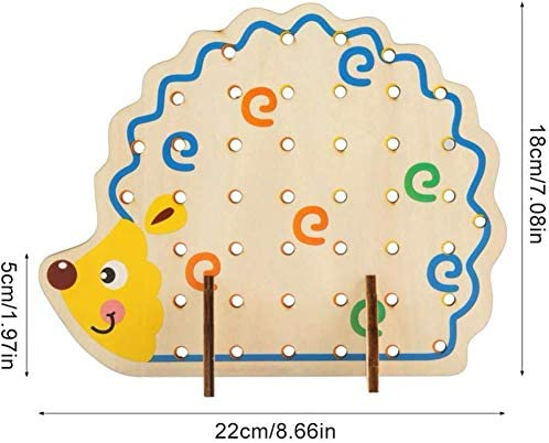 Animals Fruit Woody Block Puzzle Travel Game for Car Plane Montessori Educational Fine Motor Skill Early Learning Gift/for Baby Kids and Toddlers B-Qtech Wooden Lacing Hedgehog String Threading Toys