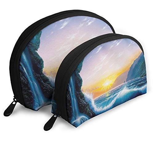 - Makeup Bag Beautiful Beach Sunset Painting Portable Half Moon Cosmetic Bags Storage For Women