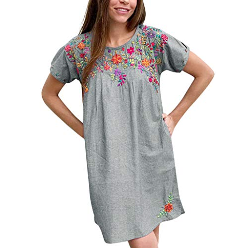 Mikilon Womens Short Sleeve Floral Embroidery Denim Casual Loose Split Mini Dress with Pockets