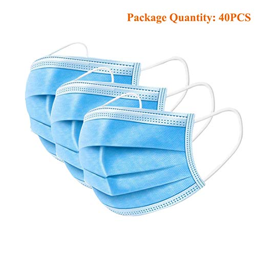 40PCS 3 Ply Disposable Face Masks with Elastic Ear Loop, Thicker Breathable and Comfortable Safety Masks for Blocking Dust Air Pollution Protection