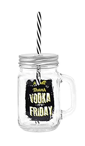 Xpressions Glass Mason Jar 14Oz / 400Ml - Mason Drinking Jar With Straw - Thank Vodka Its Friday - 14 Oz Glass Jar