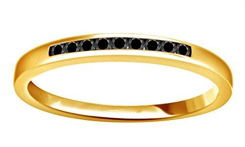 Negro Diamante Natural Half Eternity anillo en oro amarillo de 14K sobre plata de ley (0,1ct)