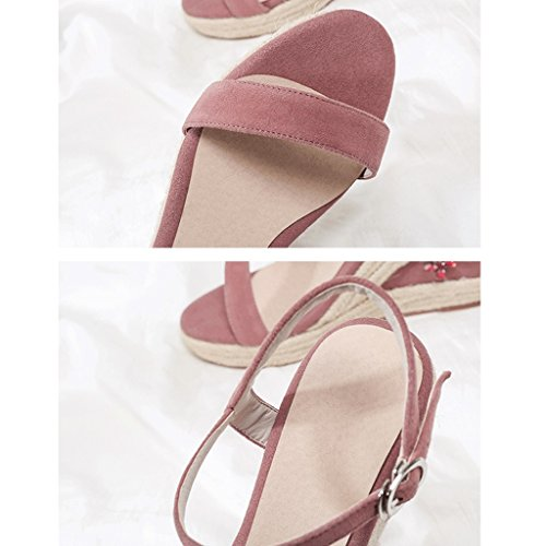 Dream Fashion Sexy Open-Toe Platform High Heels Women Thick Bottom Wedge Sandals Work Shoes Pink nA9JxNT8cb