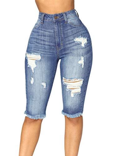CLANNAD Womens Ripped Bermuda Short Jeans Stretchy Skinny Distressed Mid Waist Denim Pants Blue 2 XXL