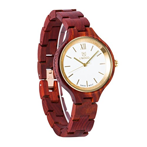 Uwood rotem Sandelholz Holz Frauen Dame Armbanduhr Schweizer Uhrwerk Qualität aus Holz Uhr mit mit dem Kasten
