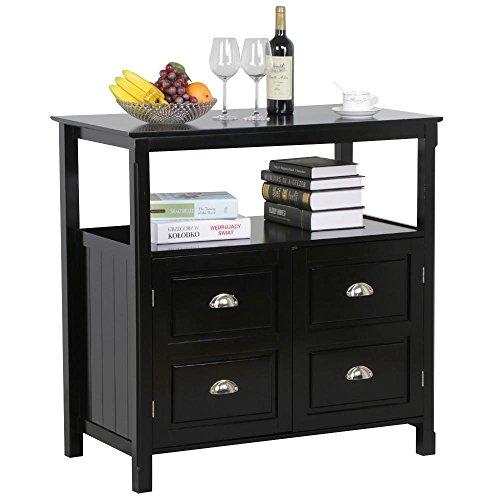 World Pride Black Gloss Buffet Sideboard Cabinet Table Drawer Door Open Display Shelf Cupboard Dining Room Furniture