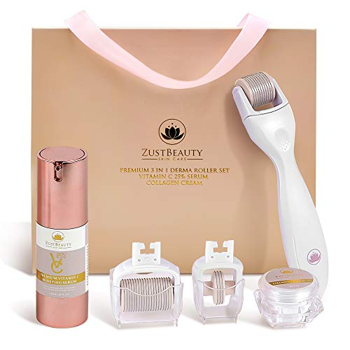 Derma Roller Kit for Face Body, 5-in-1 Skin Care Facial Roller with Vitamin C 25 Hyaluronic Serum, Collagen Cream, 180, 600 1200 0.3MM Titanium Micro-Needle Replacement Heads Manual- Gift Set
