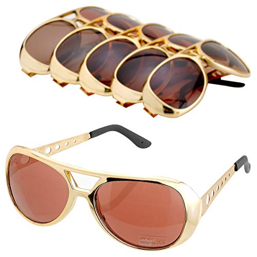 Kicko Rock Star Sunglasses with Brown Lenses - 6 Pack Celebrity Style Unisex UV Protected Aviators - Gift, Costume Props, Party Favors, Class Rewards, Getaway Accessories for Teens and Adults Alike