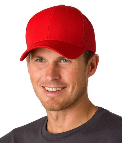 (Yupoong 6533 Flexfit Tactel Mesh Cap - Red - L/XL)