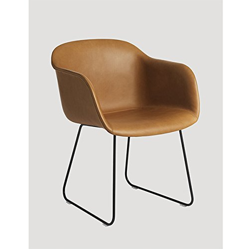 Fiber Chair - Tube Base - Cognac Silk Leather / Black