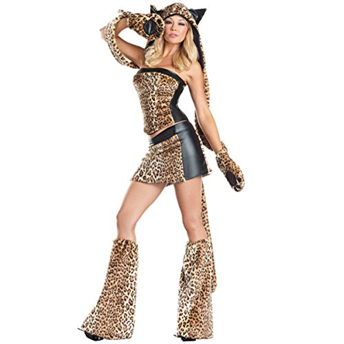 [Quesera Women's Sexy Animal Cheetah Luscious Costume Cougar Christmas Costume, Leopard, 2-6] (Sexy Leopard Costumes)