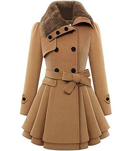 Fur Collar Double Breasted Wool Coat - 3