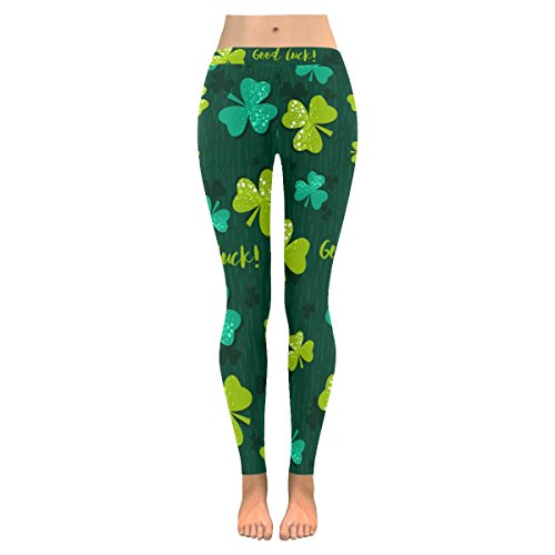 InterestPrint Spring Clover Shamrock Custom Stretchy Capri Leggings Skinny Pants For Yoga Running Pilates Gym L