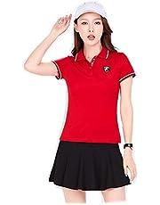 B2KEY®Traje de Ropa Deportiva de Verano Camiseta de Manga Corta para Mujer Falda Corta para Mujer Falda de Golf Falda de Tenis Falda de bádminton Falda Plisada (Manga Corta y Falda)
