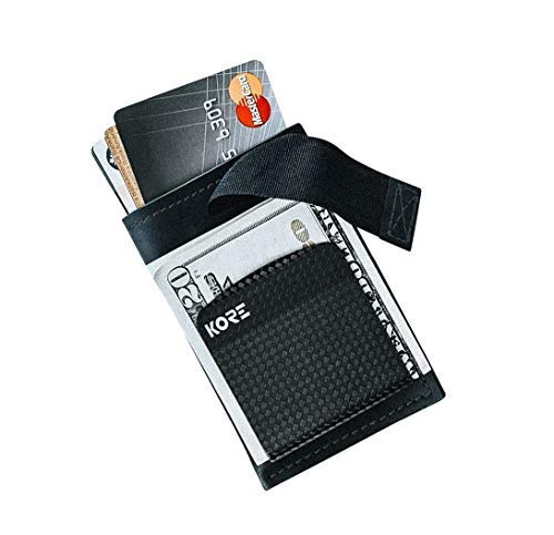 KORE Men's Slim Wallet + Carbon Fiber Money Clip [RFID Block]