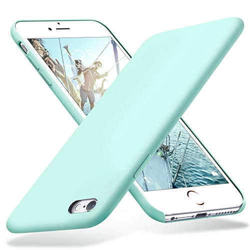 (KUMEEK iPhone 6s Case, iPhone 6 Case, Liquid Silicone Rubber with Soft Microfiber Cloth Cushion Protective Case Thin Slim for iPhone 6s / iPhone 6 - Mint)