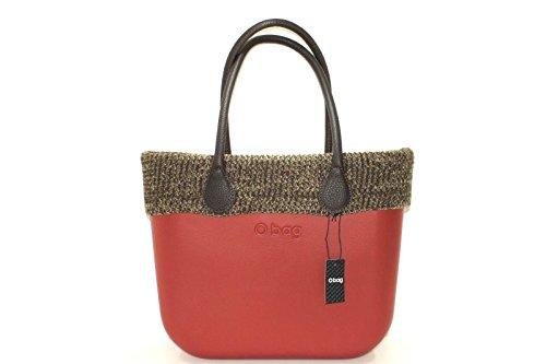Borsa o bag grande bordeaux con sacca, bordo lana marrone e manico lungo testa di moro New collection (K)