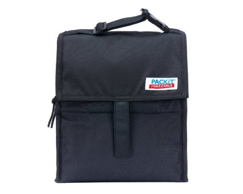 PackIt ® Freezable Reusable Lunch Bag with Adjustable Strap (Black) (Amazing 10 Breakfasts)
