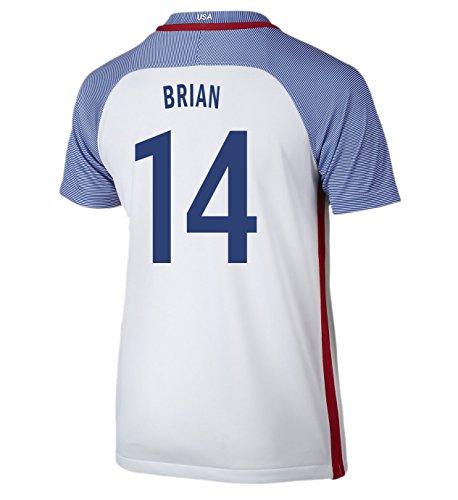 (Nike Brian #14 USA Home Soccer Jersey Rio 2016 Olympics Youth. (YXS) White)